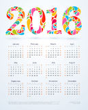 Creative colorful 2016 calendar design.  Stock Photo
