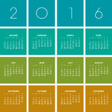 2016 Creative Colorful Calendar. In multiple colors stock illustration
