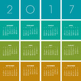 2017 Creative Colorful Calendar. In multiple colors Vector Illustration