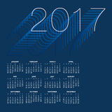 2017 Creative Colorful Calendar. In shades of blue Royalty Free Illustration