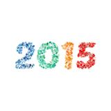 Creative colorful circle pattern happy new year 2015 design vector Stock Photos