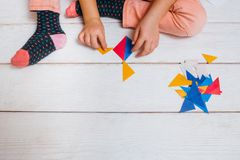 Creative colorful craft. Childhood art Stock Photos