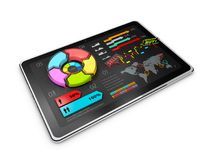 Creative colorful 3D Illustration pie chart on tablet, business concept. Creative colorful 3D Illustration pie chart, business concept Royalty Free Stock Photo