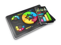 Creative colorful 3D Illustration pie charts on the tablet with phone, business concept.  Royalty Free Stock Photo
