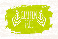 Creative colorful green bio poster gluten free for healthy eating and dieting isolated on white background with old paper texture. Stock Images