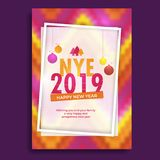Creative colorful greeting card design for NYE (New Year Eve) 20. 19 celebration stock illustration