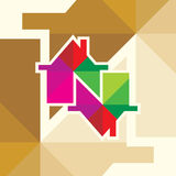 Creative colorful house over olden background Royalty Free Stock Photography