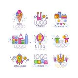 Creative colorful kids logo set in line style. Ice cream, alien, gifts, air balloon, castle, rocket, cubes, bunny, paint. Creative kids logo set in line style stock illustration