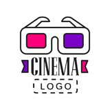 Creative logo template for video or movie company. Cinematography industry emblem with cinema 3D glasses and text. Flat. Creative colorful logo design template Royalty Free Stock Photos