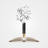 Creative colorful music pen. Writing concept. Vector. Illustration stock illustration