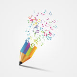 Creative colorful music pencil. Writing concept. Vector Stock Photo
