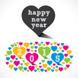 Creative colorful new year 2015 greeting design with heart Royalty Free Stock Photo