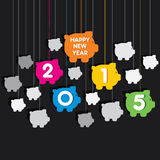Creative colorful new year 2015 greeting design with piggy bank Royalty Free Stock Photos