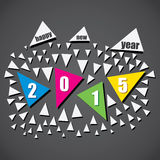 Creative colorful new year 2015 greeting design with triangle Royalty Free Stock Images