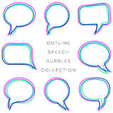 Creative colorful outline speech bubbles collection. Illustration Stock Photo