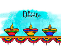 Creative colourful Lit Lamps for Diwali. Royalty Free Stock Photos