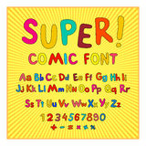 Creative comic font. Alphabet in style of comics, pop art. Multilayer funny red & chocolate  3d letters and figures on a yellow ci Stock Image
