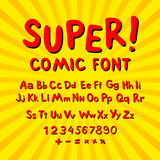 Creative comic font. Alphabet in style of comics, pop art. Multilayer funny red & chocolate  3d letters and figures on a yellow ci Stock Photo