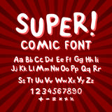 Creative comic font. Alphabet in style of comics, pop art. Multilayer funny red & chocolate  3d letters and figures on a yellow ci. Rcular striped background Royalty Free Stock Image