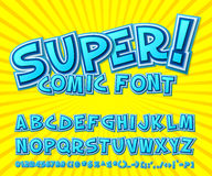 Creative comic font. Vector alphabet in style pop art Royalty Free Stock Photography