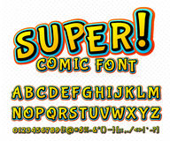 Creative comic font. Vector alphabet in style pop art. Creative high detail comic font. Alphabet in the style of comics and pop art. Multilayer funny colorful Royalty Free Stock Photo