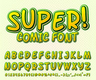 Creative comic font. Vector alphabet in style pop art Royalty Free Stock Images