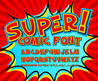 Creative comic font. Vector alphabet in style pop art Stock Photos