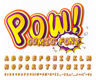 Creative comic font. Vector alphabet in style pop Royalty Free Stock Images
