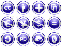 Creative commons blue buttons. Creative commons license blue buttons illustration Stock Photography