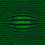 Creative commons license. Concept creative commons license matrix style background with a bulge word creative commons license in the foreground and crumbling the Stock Images