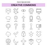 Creative Commons linii ikona Ustawiająca - 25 Ciskający konturu styl ilustracja wektor