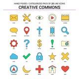 Creative Commons mieszkania linii ikona Ustawiająca - Biznesowy pojęcie ikon Des ilustracji