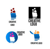 Creative company logo vector. Vectored logos and brands for creative companies and agencies, with stylized human head with ideas and solutions flowing out Royalty Free Stock Photo