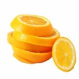 Creative compose slide navel orange. With white isolated background royalty free stock photos