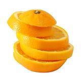 Creative compose slide navel orange. With white isolated background royalty free stock photography