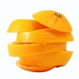 Creative compose slide navel orange. With white isolated background stock image