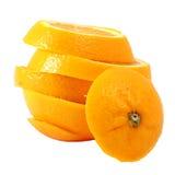 Creative compose slide navel orange. With white isolated background royalty free stock photo