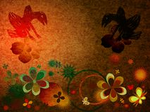Creative composition. Abstract composition with flowers and birds Stock Photo