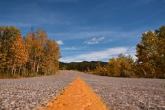 Creative composition, bug eye view autumn landscapes in Kananaskis Alberta, canadian rockies stock photography