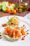 Creative composition delicious fresh smoked sliced salmon with tartar sauce on a white plate on a wooden table in a restaurant wit Royalty Free Stock Images