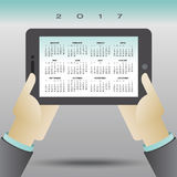 2017 creative computer tablet calendar. For print or web vector illustration