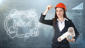 Creative concept, beauty businesswoman standing with blueprints on painted background near idea organizational chart. Royalty Free Stock Photos