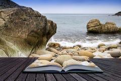 Creative concept book beach landscape Stock Photography