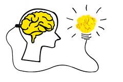 Creative concept. Brain plugged in to produce ideas and a yellow. Light bulb made of yellow crumpled, paper ball Royalty Free Stock Photo