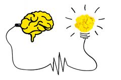 Creative concept. Brain plugged in to produce ideas and a yellow. Light bulb made of yellow crumpled, paper ball Royalty Free Stock Photos