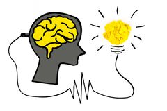 Creative concept. Brain plugged in to produce ideas and a yellow. Light bulb made of yellow crumpled, paper ball Stock Photo