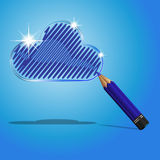 Cloud concept with pencil. Creative concept of cloud with pencil vector illustration stock illustration