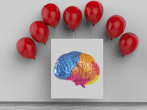 Creative concept with colourful brain. Creativity concept with 3d rendering colorful brain Royalty Free Stock Photos