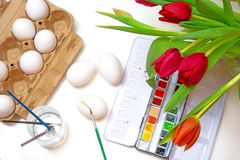 Creative concept, Easter egg coloring, view fom above Royalty Free Stock Photography