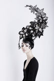 Creative Concept. Futuristic Woman in Art Fabulous Headdress Royalty Free Stock Image